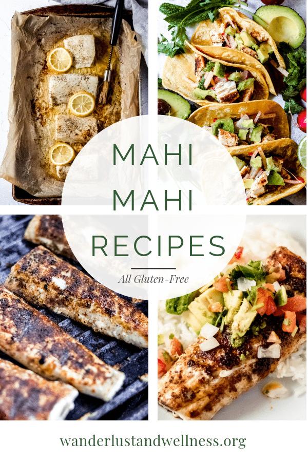 a photo collage featuring mahi mahi recipes