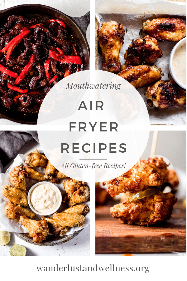 a four picture collage of gluten-free air fryer recipes