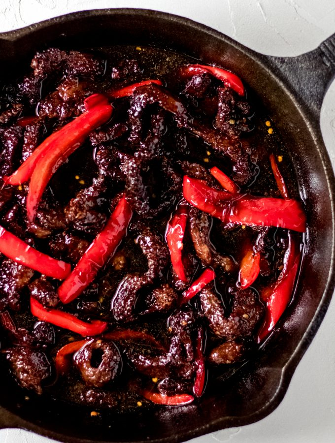 a skillet of air fryer sticky asian beef