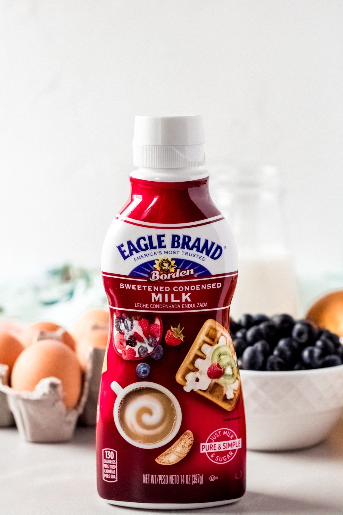 ingredients for blueberry french toast bake featuring Eagle Brand® sweetened condensed milk