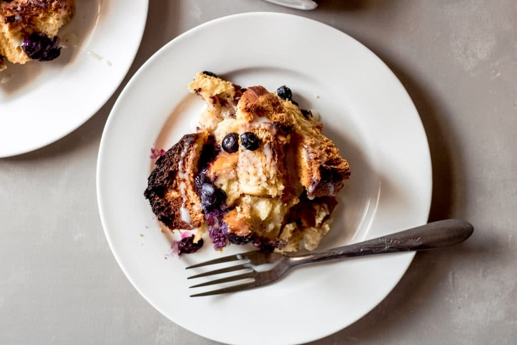 one serving of blueberry french toast bake