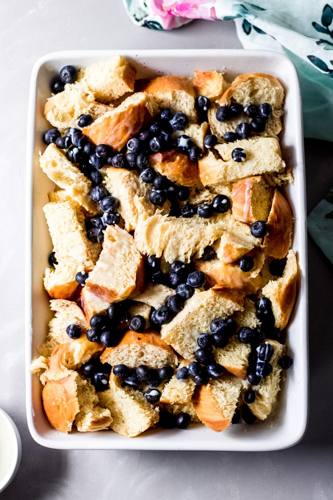 unbaked blueberry french toast bake