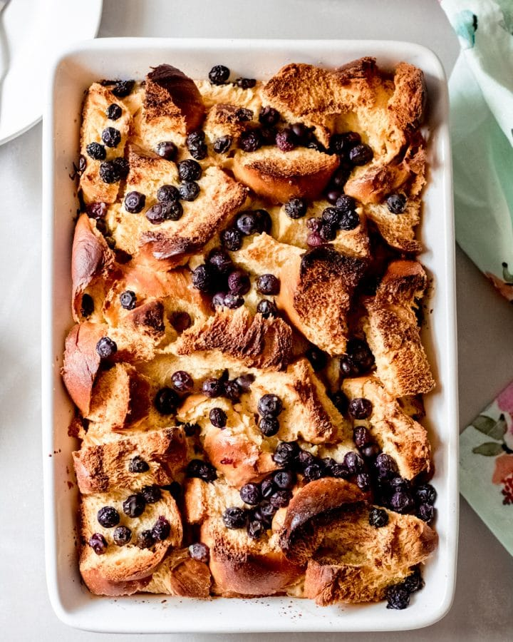 a baked blueberry french toast bake