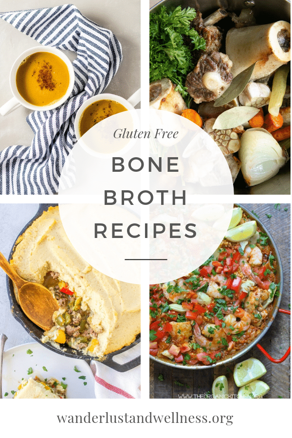 a four image collage of bone broth recipes