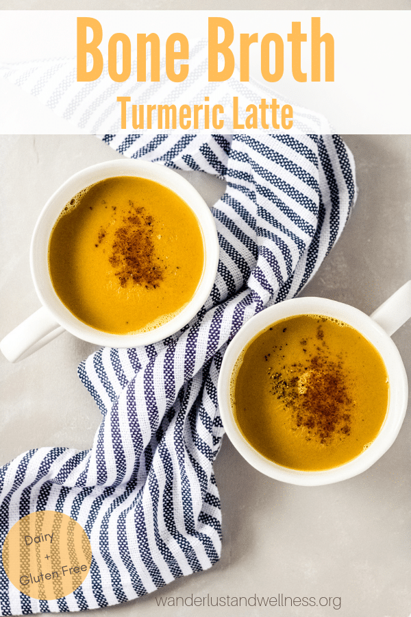 2 mugs with bone broth turmeric latte