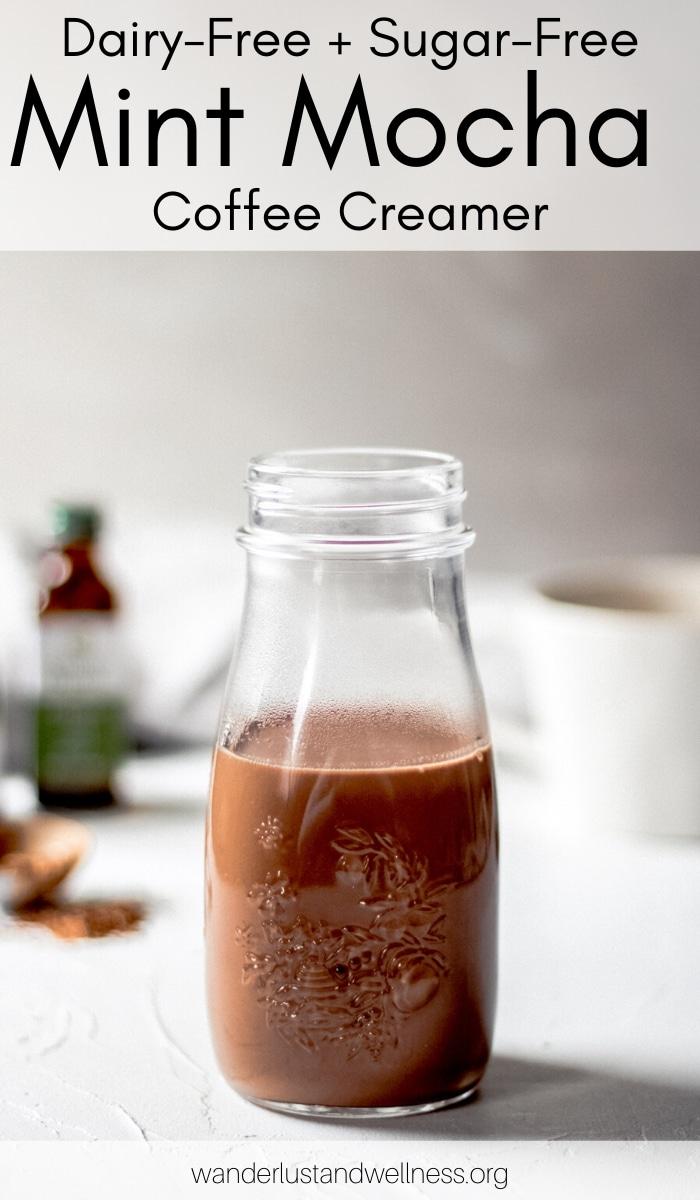 a jar of dairy-free sugar-free mint mocha coffee creamer