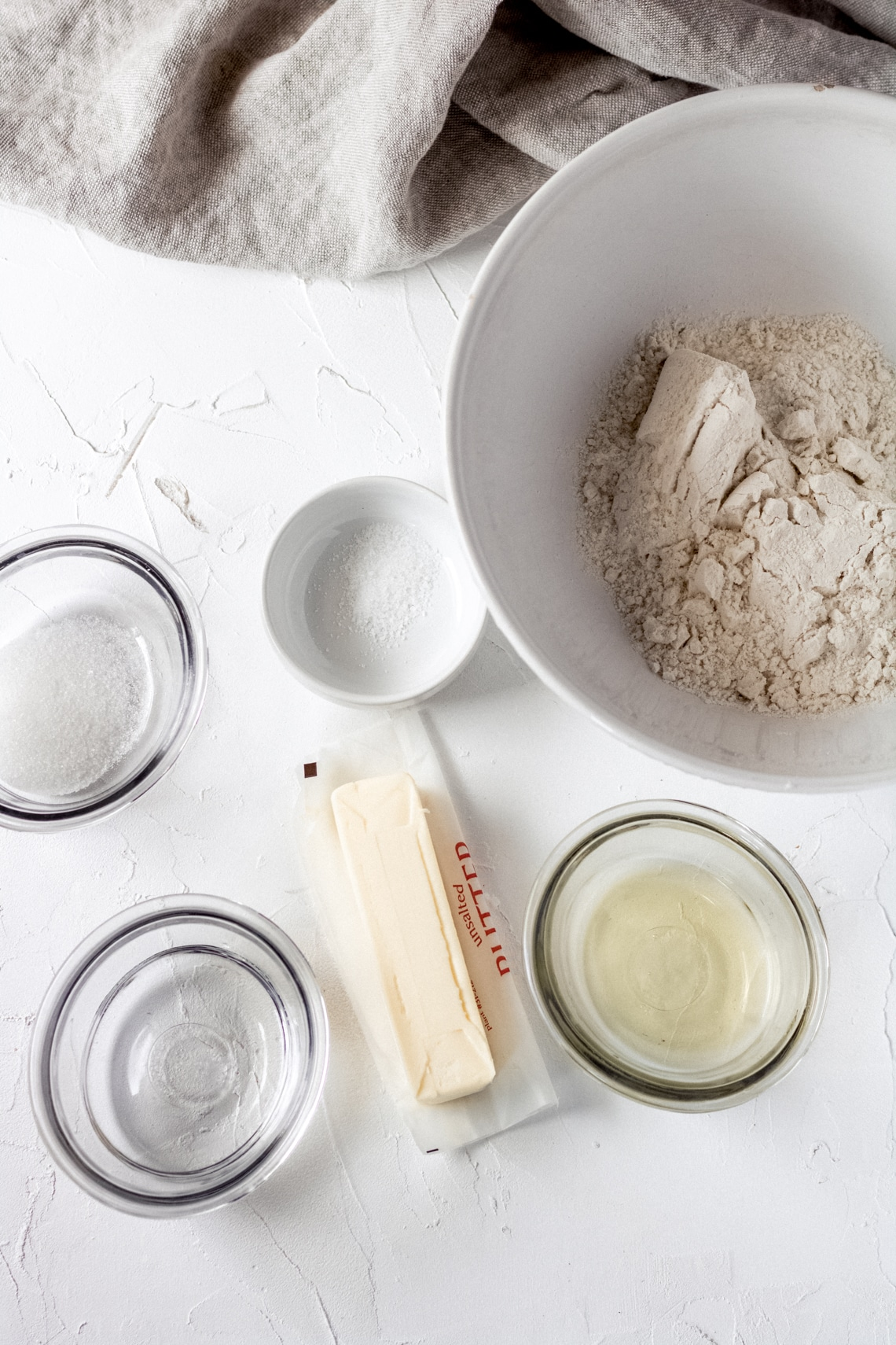 an overhead shot of the ingredients needed for gluten-free galette dough
