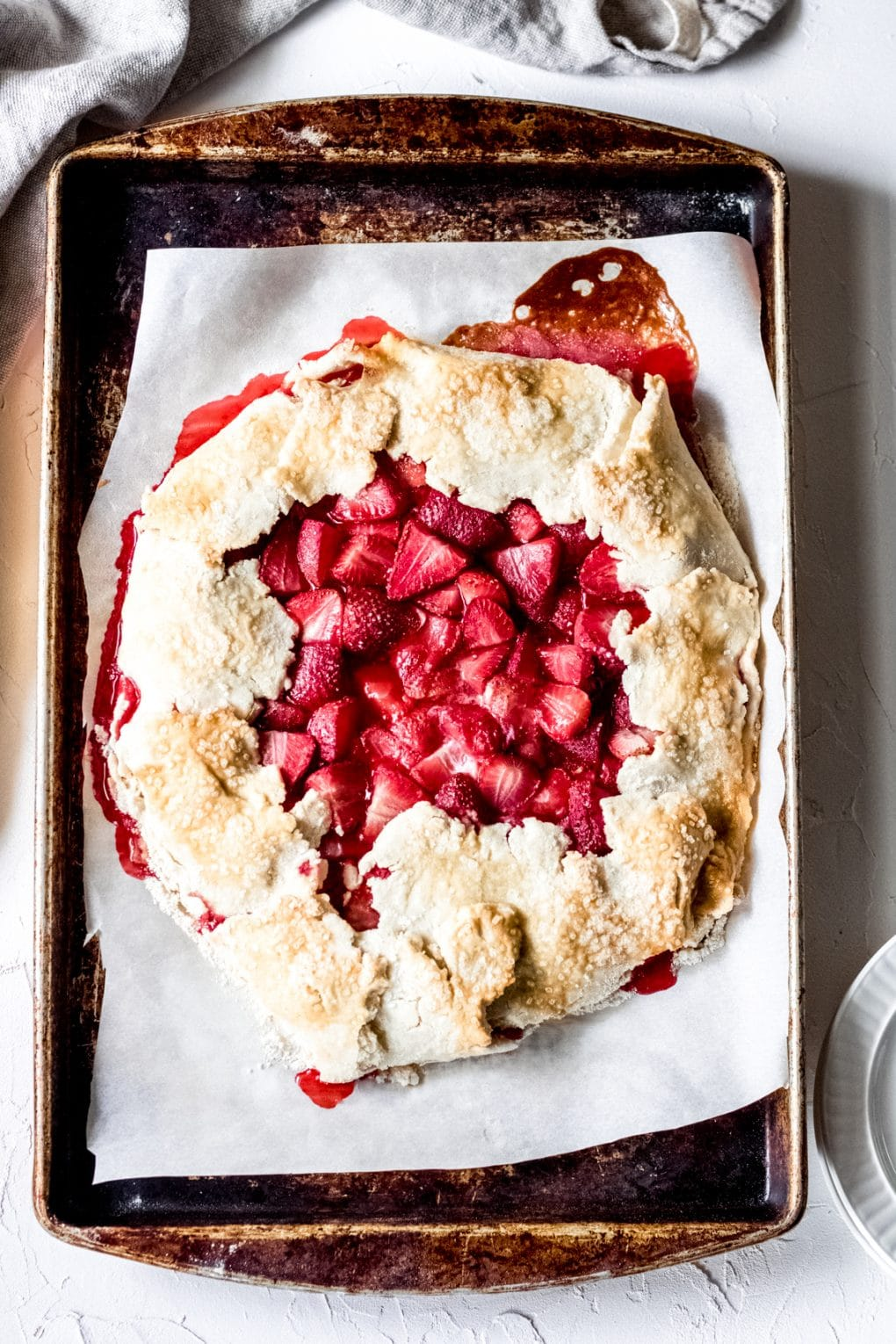 a baked gluten-free strawberry galette