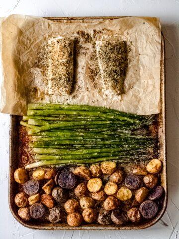 a sheet pan of cooked healthy mahi mahi recipe