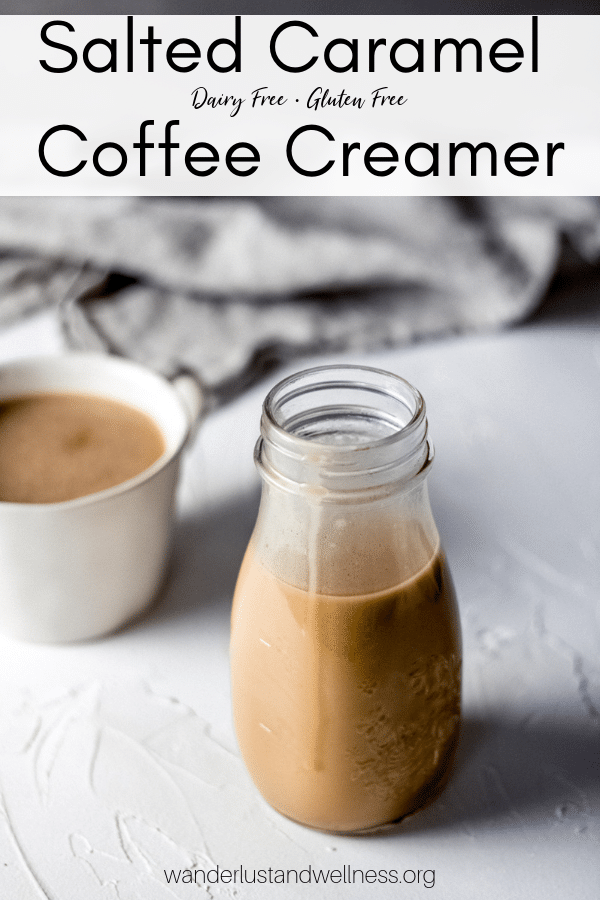 a jar of homemade salted caramel creamer