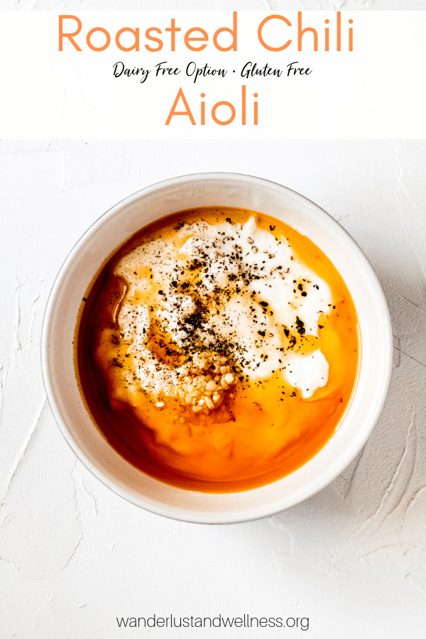 a bowl of ingredients for roasted chili aioli