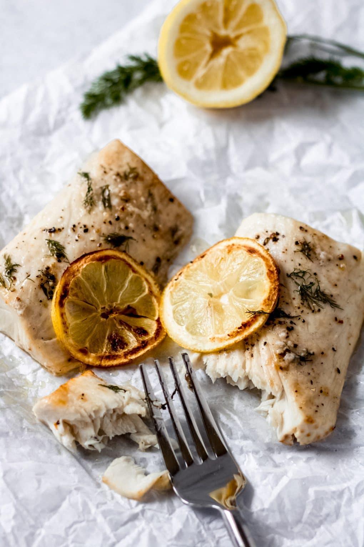 two cooked lemon dill mahi mahi fillets