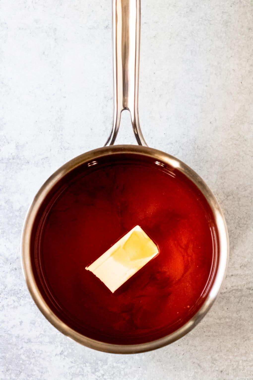 buffalo maple syrup sauce in a saucepan