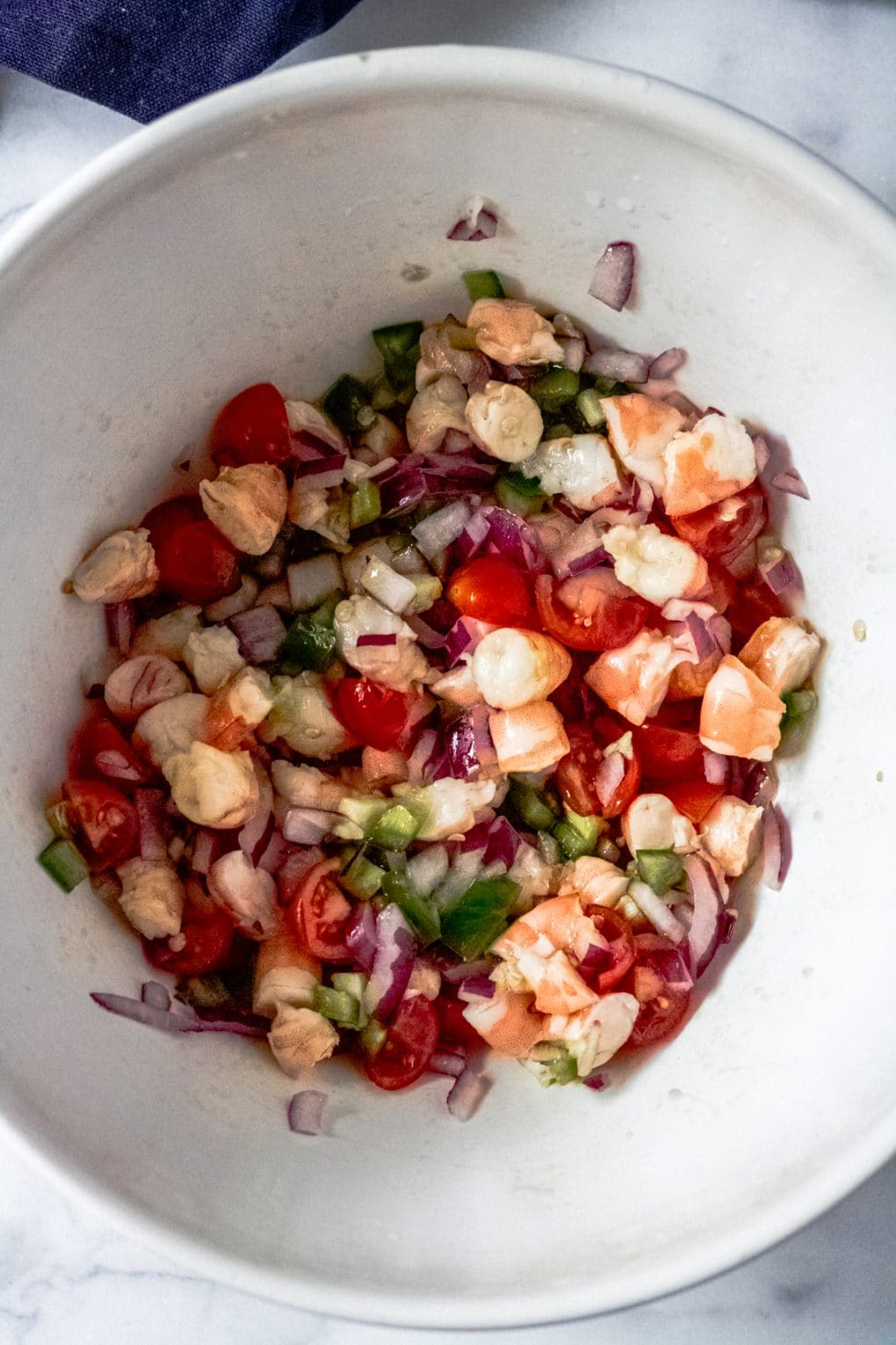 coconut lime ceviche ingredients in a bowl