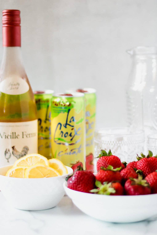 ingredients for strawberry rosé spritzer