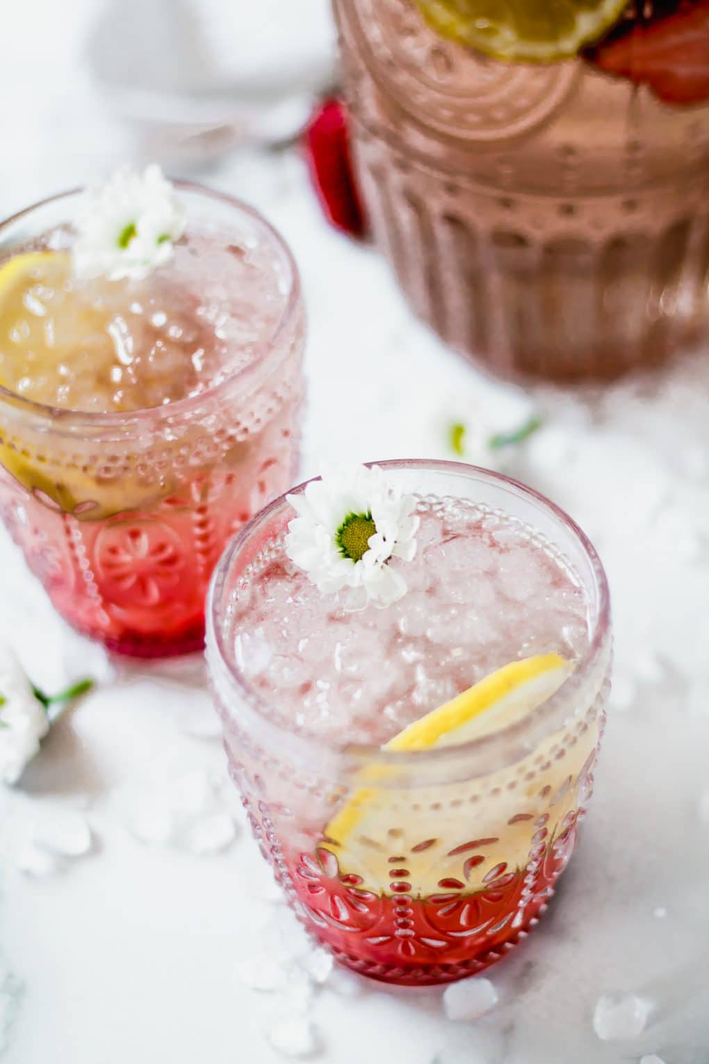 two strawberry rosé spritzers