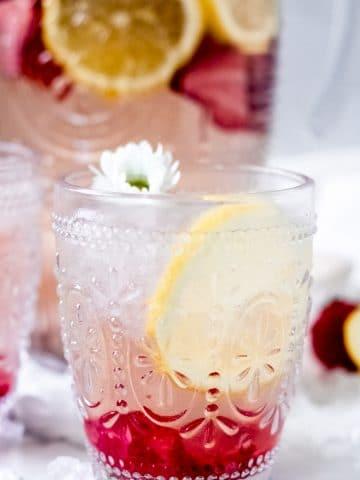 a strawberry rosé spritzer