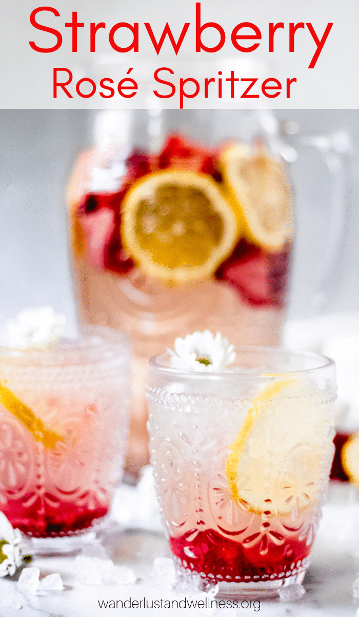 two glasses of strawberry rosé spritzer
