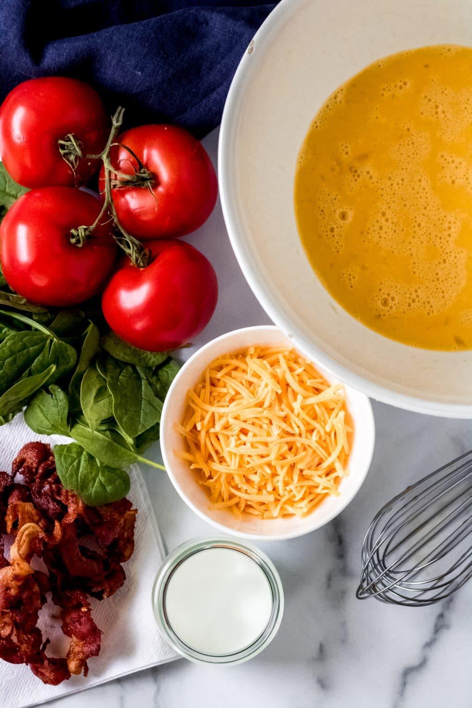ingredients needed to make BLT breakfast egg bites