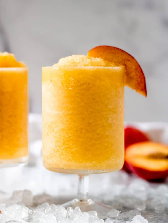 two glasses of frozen peach Bellini