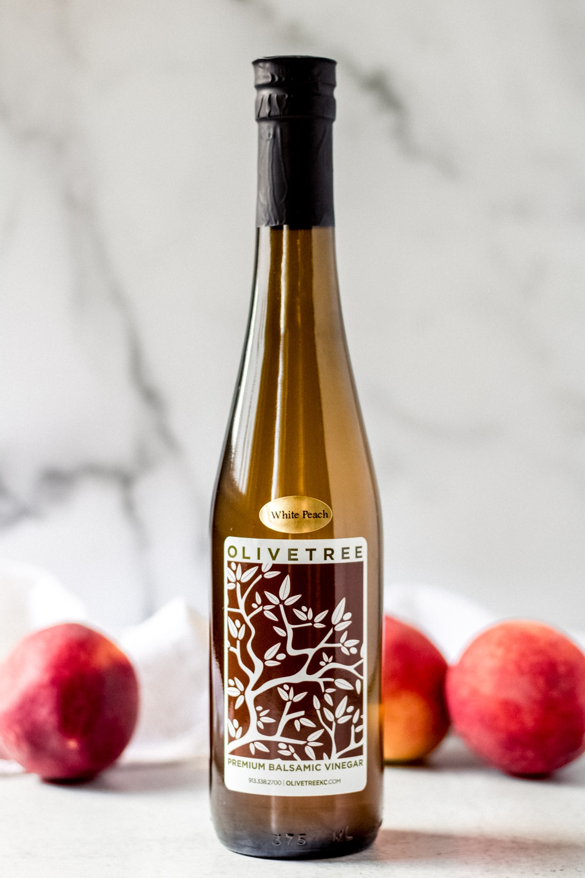 a bottle of white peach balsamic vinegar