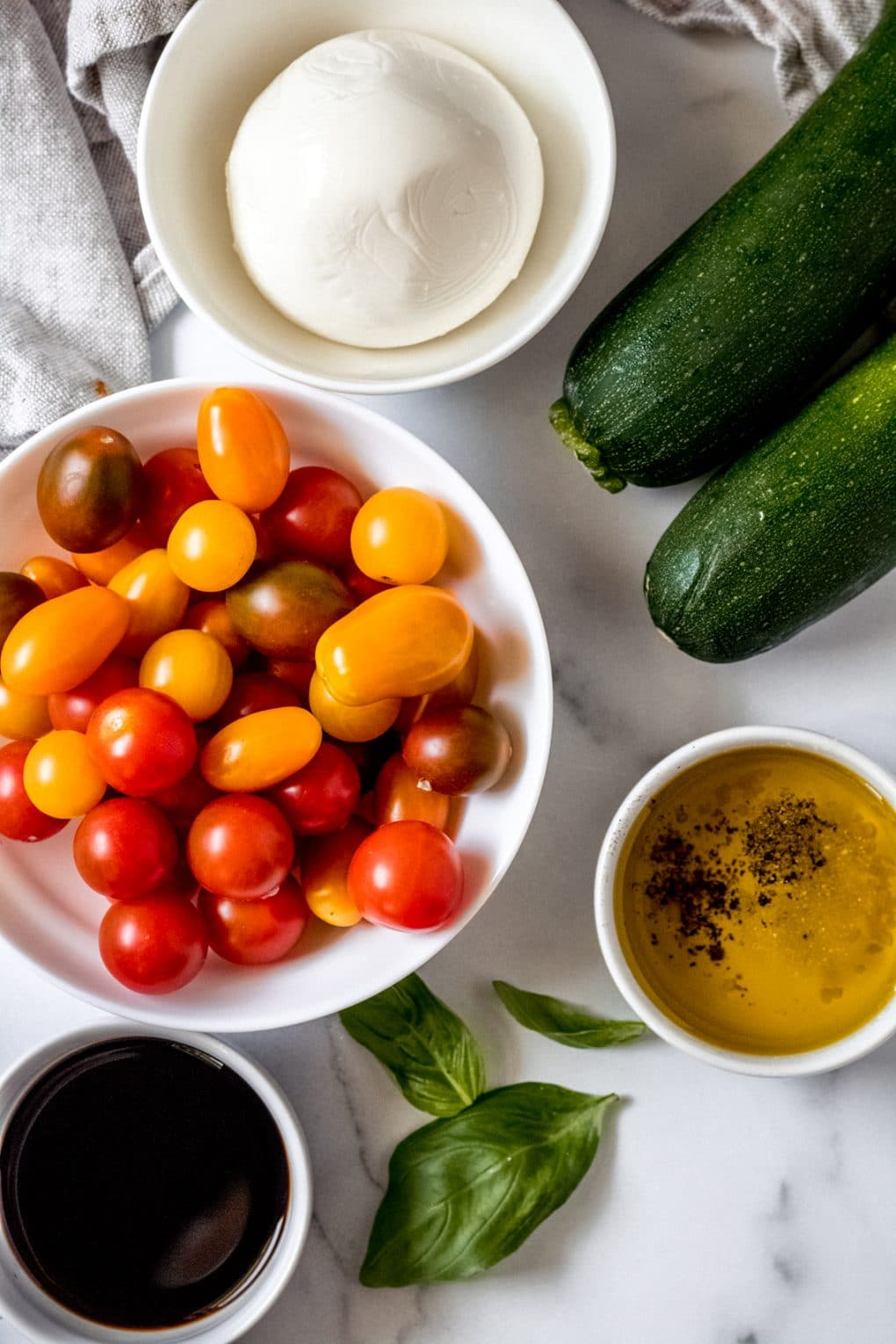 ingredients for gluten-free marinated tomato salad