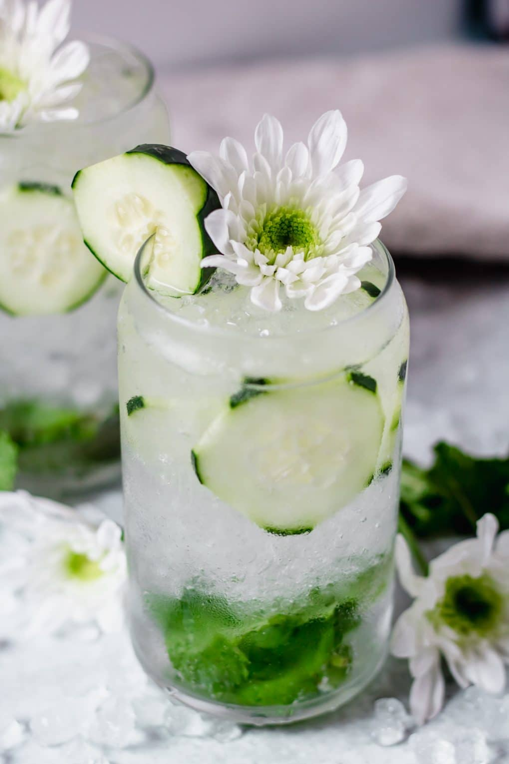 a sparkling cucumber cocktail in a glass