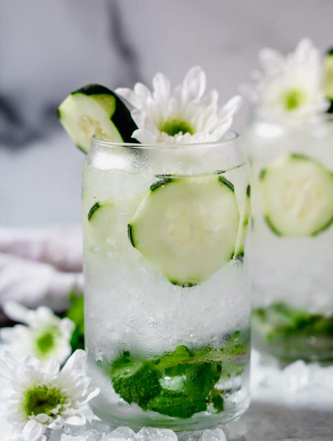 two sparkling cucumber cocktails