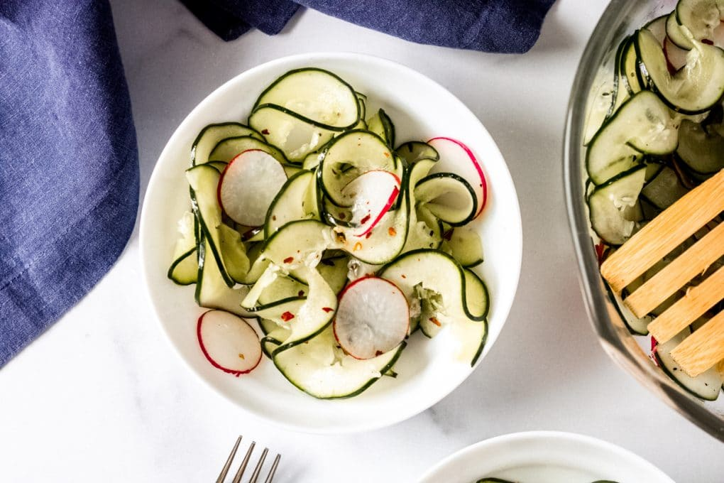 a bowl of spicy cucumber salad