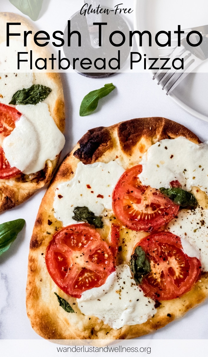 two fresh tomato flatbread pizzas