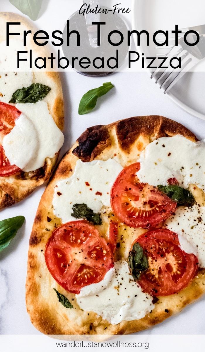 two fresh tomato flatbread pizzas