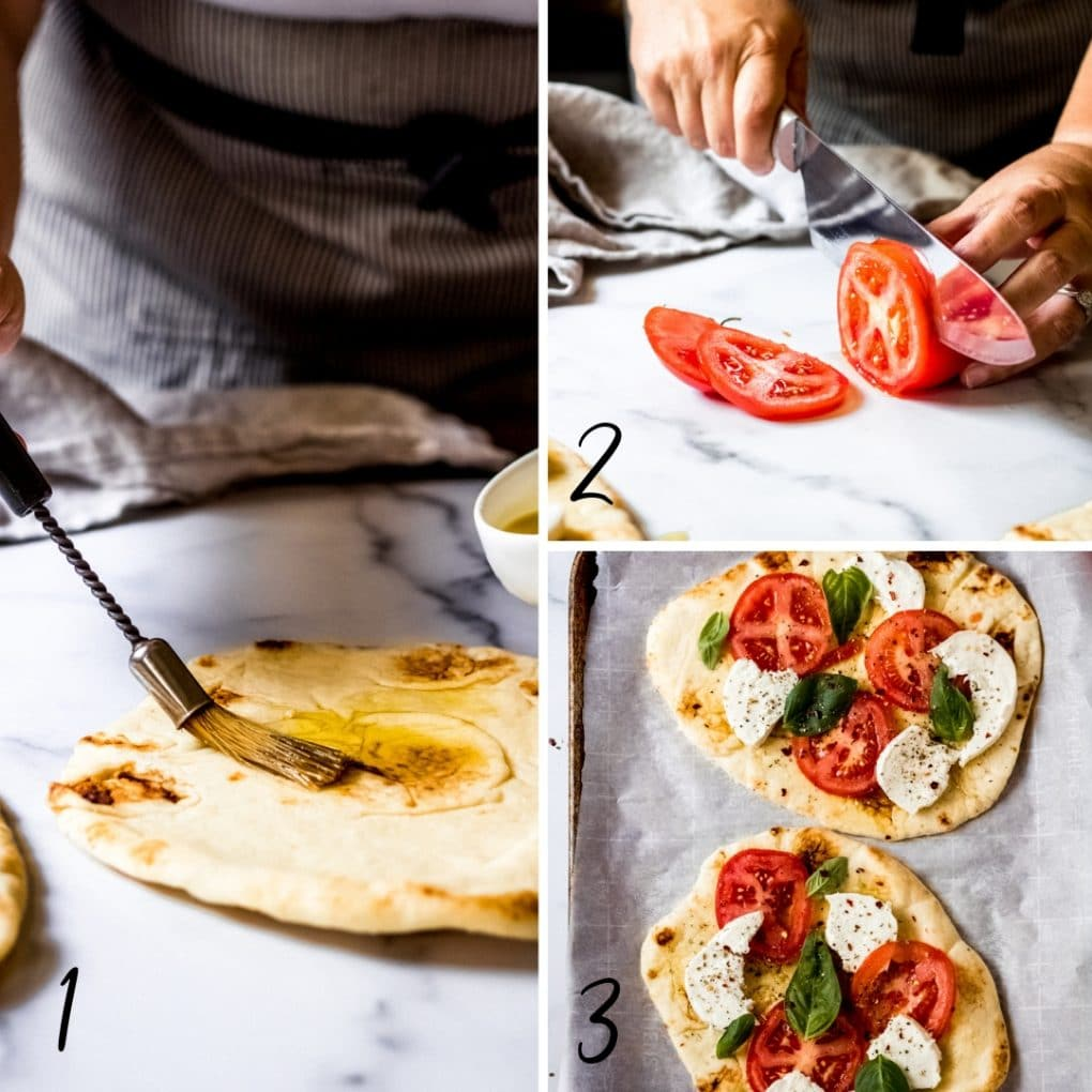 a collage showing the steps to make tomato basil mozzarella flatbread pizza