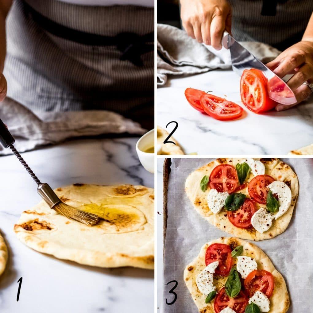 a collage showing the steps to make tomato basil mozzarella flatbread pizza