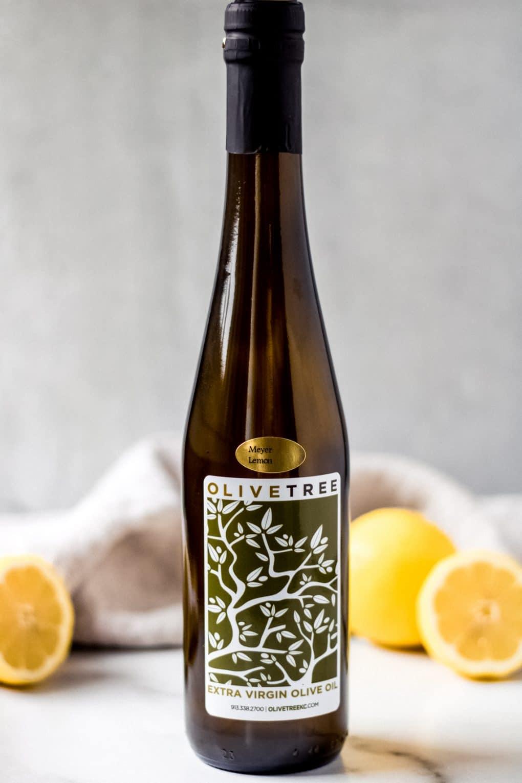 a bottle of Meyer lemon olive oil from Olive Tree