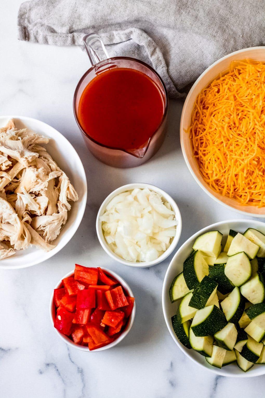 ingredients needed for easy zucchini enchilada skillet recipe