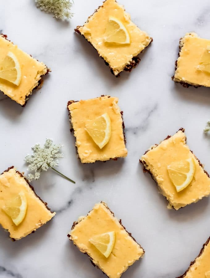 gluten-free lemon bars on a marble top
