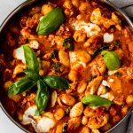 30-minute chicken gnocchi skillet recipe in a stainless steel skillet