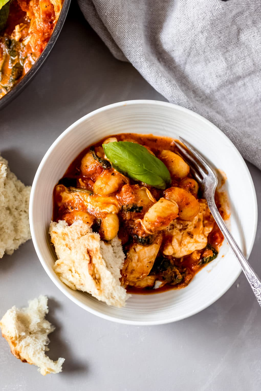 a bowl of 30-minute chicken gnocchi skillet