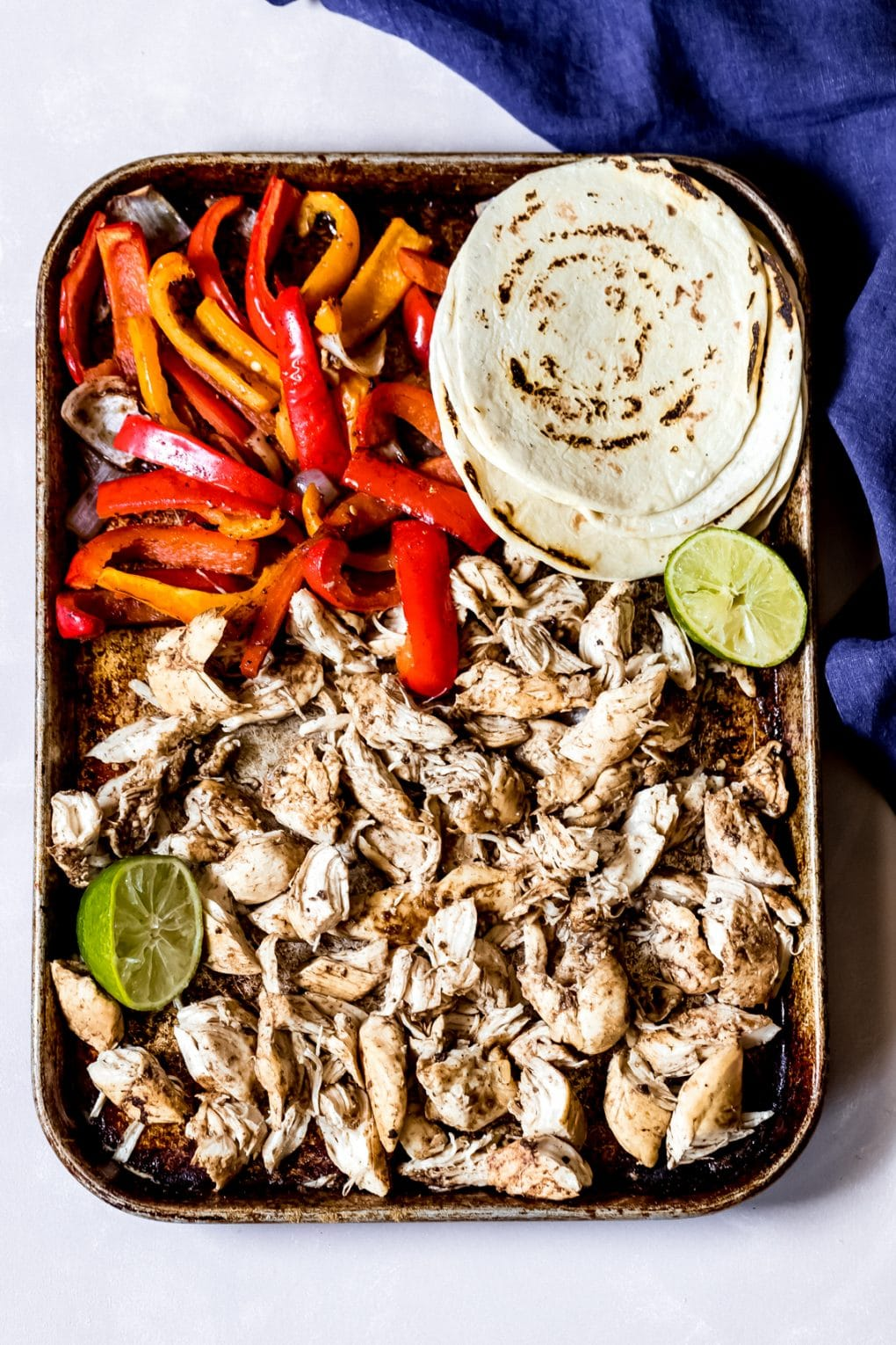 ingredients for easy sheet pan chicken fajitas