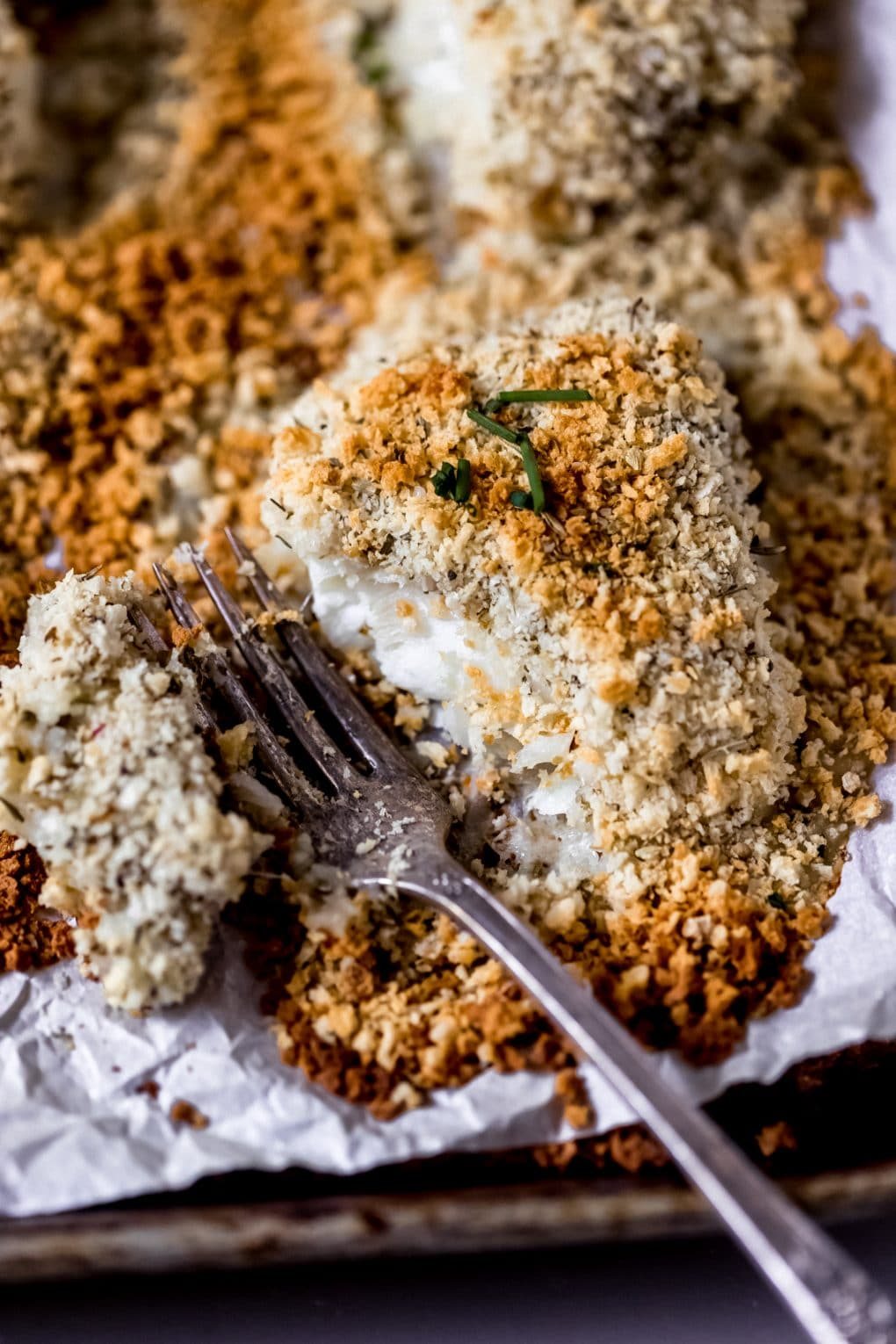 a parmesan crusted cod fillet with a fork taking a bite out