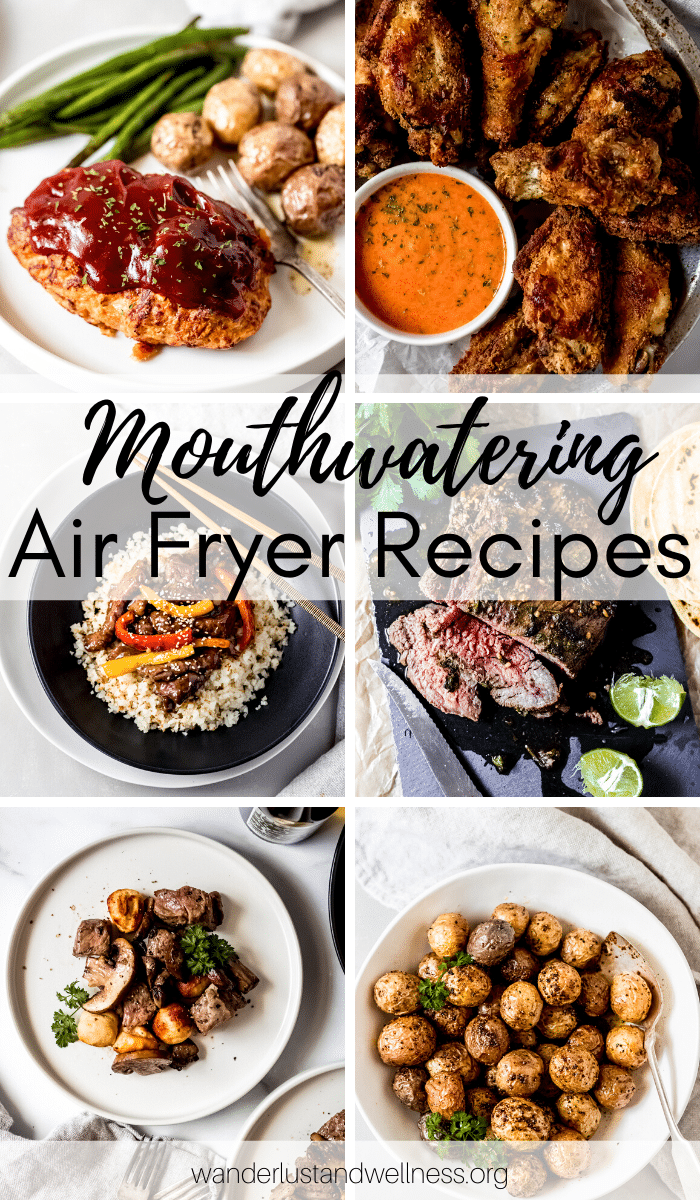 six images of air fryer recipes