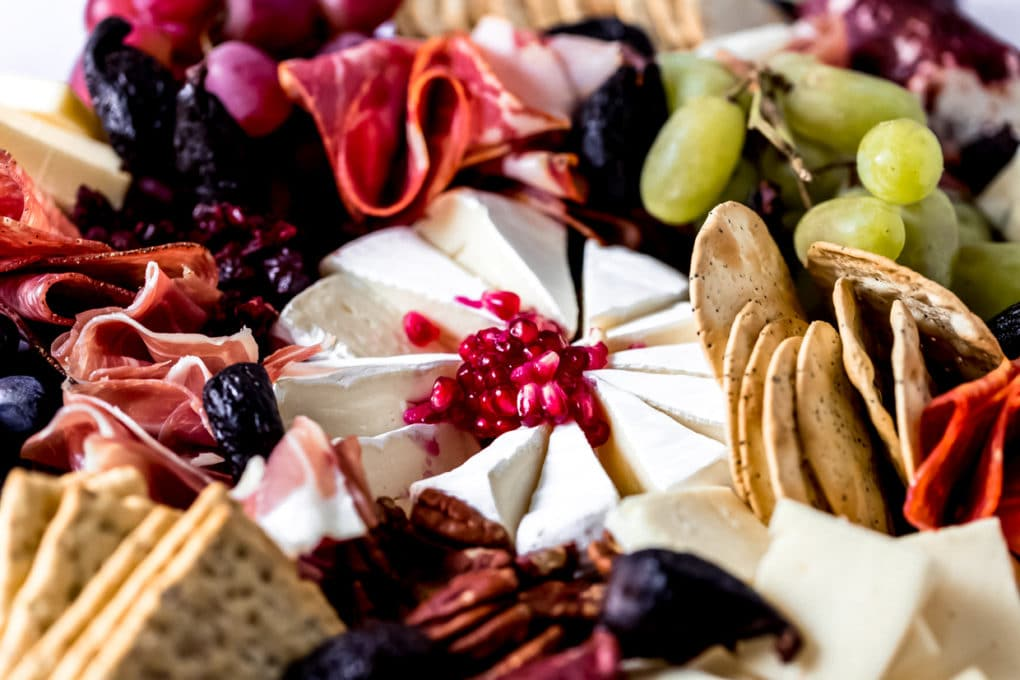 a close up shot of ingredients on a Thanksgiving charcuterie board