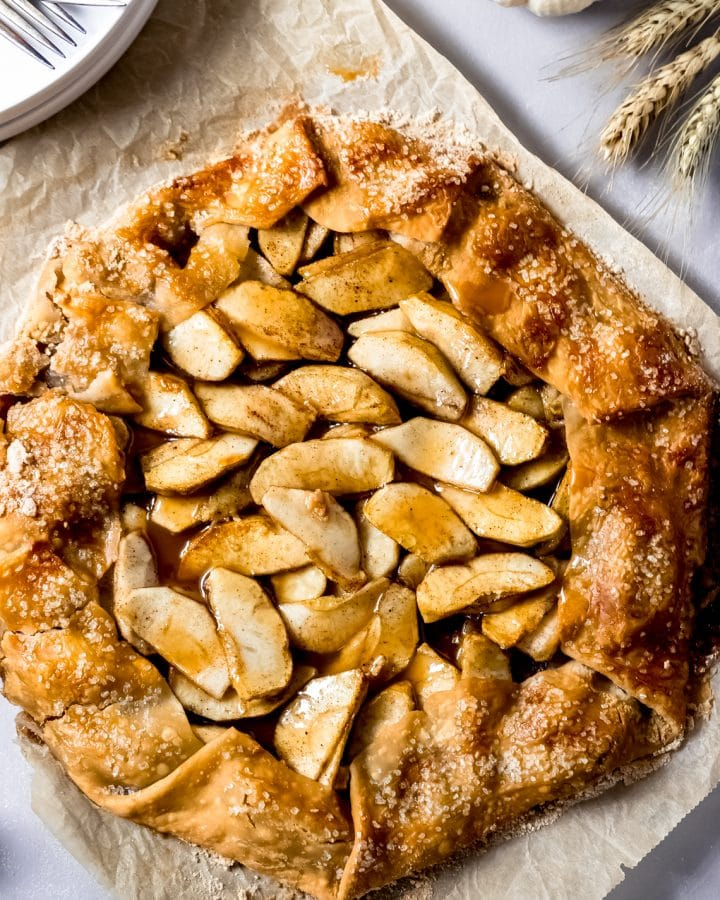 a baked caramel apple galette