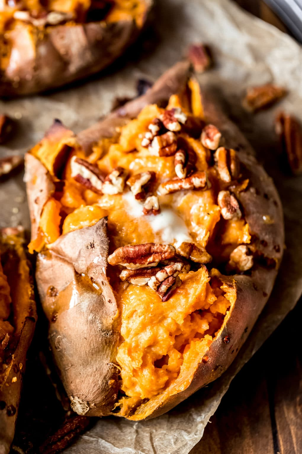 a maple pecan twice-baked sweet potato