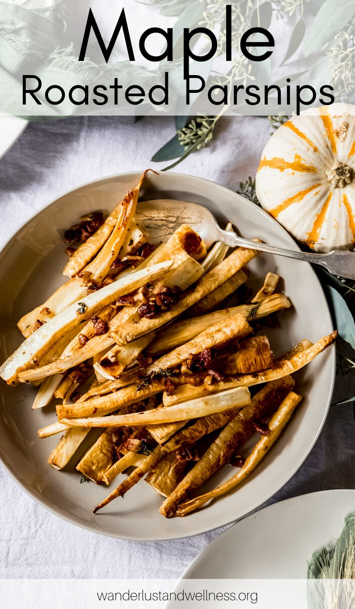 a bowl of maple roasted parsnips