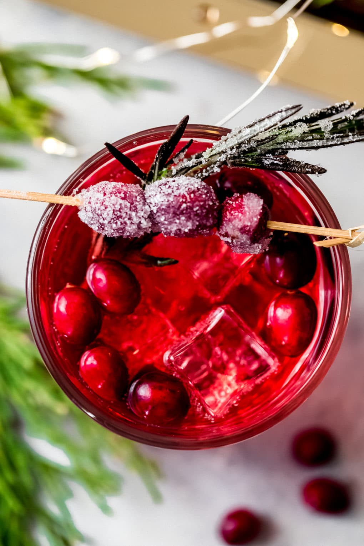 an overhead shot of a glass of La Croix vodka cranberry