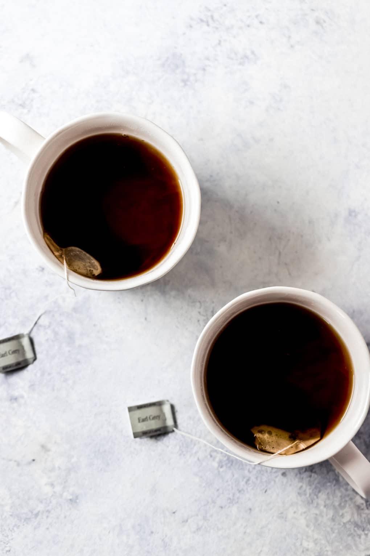 earl grey tea steeping in two cups
