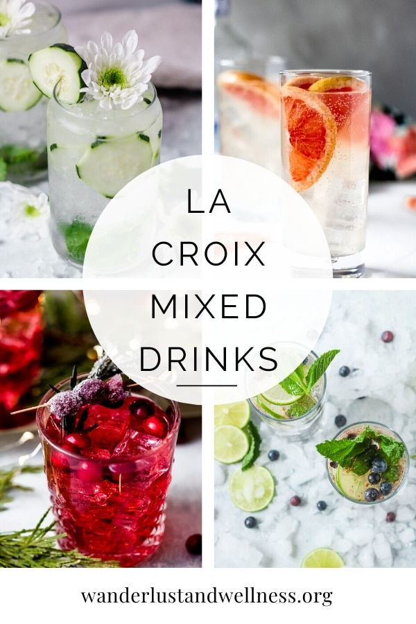 a collage of La Croix mixed drinks