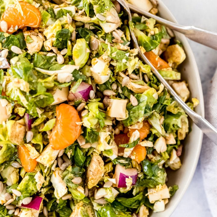 a bowl of tangy brussel sprout salad
