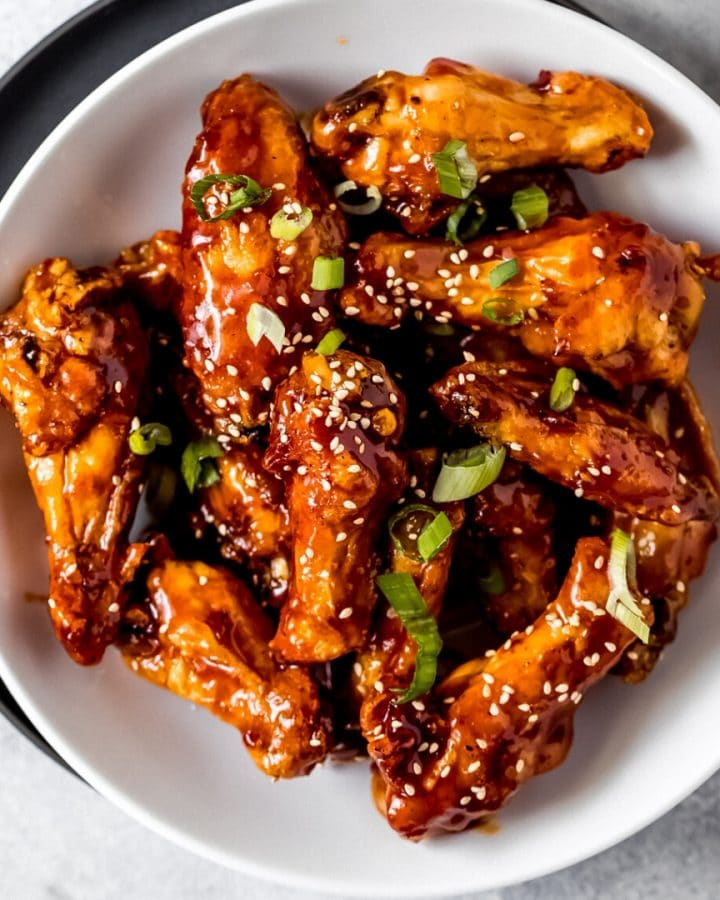 a bowl of air fryer general tso's chicken wings